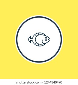 illustration of flatfish icon line. Beautiful sea element also can be used as aquatic icon element.