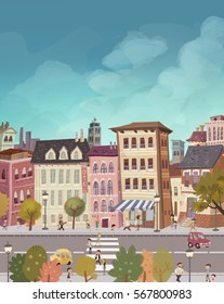 Illustration flats in the city