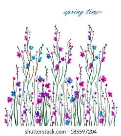 illustration floral background -2.Watercolor flowering bush .
