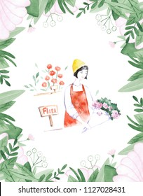 Illustration of a florist girl holding a pot of flowers in the flower shop