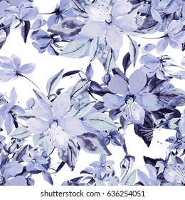 Illustration of a flowering branch, seamless pattern watercolor