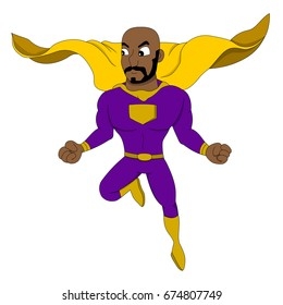 Illustration of flying African American hero in action pose, isolated on a white background