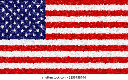 Illustration of a flying American Flag with hearts scattered around