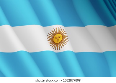 Illustration of a flying Argentinian flag