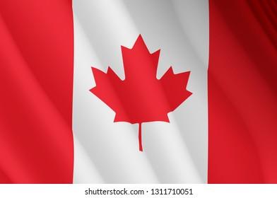 Illustration of a flying Canadian flag