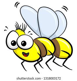 illustration of a flying cartoon bee