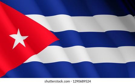 Illustration of a flying Cuban flag