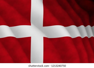 Illustration of a flying Danish flag
