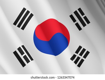 Illustration of a flying flag of South Korea