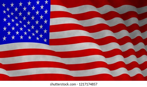 Illustration of a flying flag of The United States of America