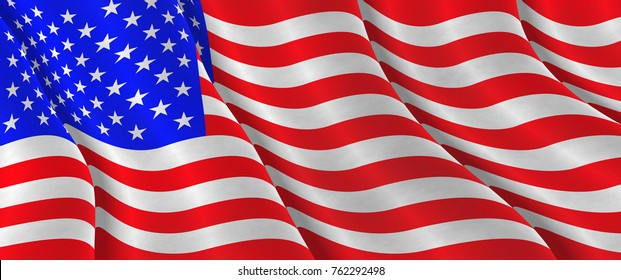 Illustration of a flying  Flag of the U.S.A.