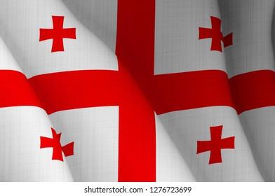 Illustration of a flying Georgian flag