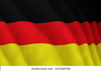 Illustration of a flying German flag
