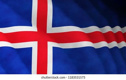 Illustration of a flying Icelandic flag