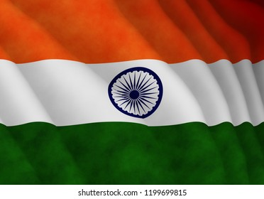 Illustration of a flying Indian flag