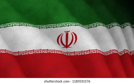 Illustration of a flying Iranian flag