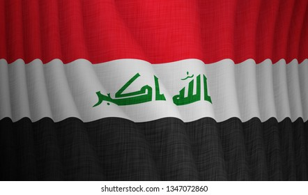 Illustration of a flying Iraqi flag