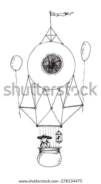 Illustration Flying Machine Eye Hot Air Stock Illustration 278134475