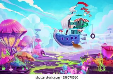 Illustration: Flying to a Mystery Wonderland. Realistic Fantastic Cartoon Style Artwork Scene, Wallpaper, Game Story Background, Card Design