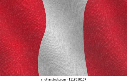 Illustration of a flying Peruvian flag