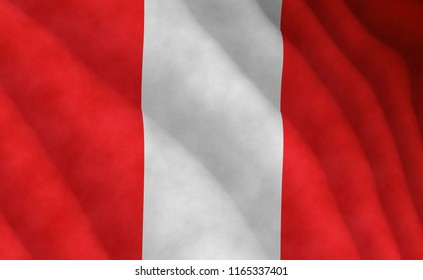 Illustration of a flying Peruvian flag