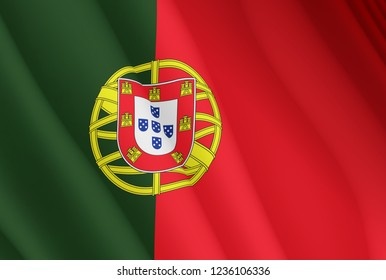 Illustration of a flying Portugal flag