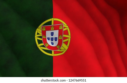 Illustration of a flying Portuguese flag