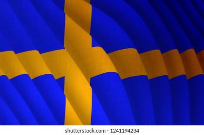 Illustration of a flying Swedish flag
