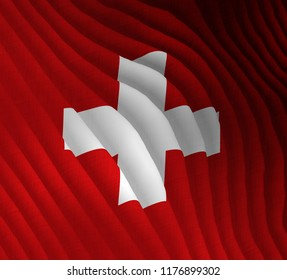 Illustration of a flying Swiss flag