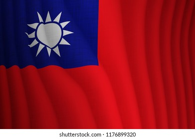 Illustration of a flying Taiwanese flag
