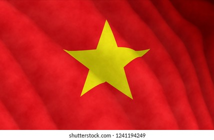 Illustration of a flying Vietnamese flag