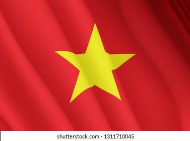 Illustration of a flyingVietnamese flag