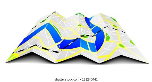 illustration of a folded city map
