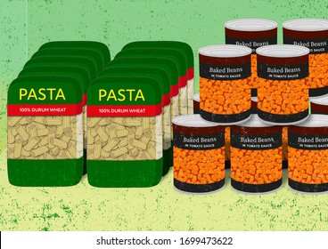 An illustration of a food cupboard with stockpiled packets of pasta and tins of baked beans.