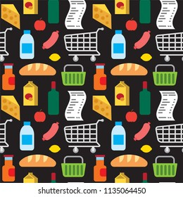 illustration of food supermarket products seamless pattern