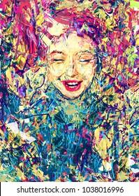 "Illustration for the fool's day. Art. Girl. Face. Picture For Interior. ""Endless Happiness"". Modern Art. Contemporary digital art. Smile. Expressionism. Canvas. 01 april."