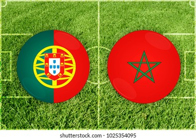 Illustration for Football match Portugal vs Marocco