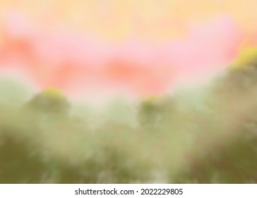 A illustration of a forest with a sky at sunrise in pink and yellow.