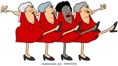 Illustration of four old women king their legs up dancing the can-can.