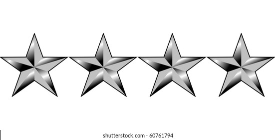 Illustration of four stars of America generals rank, isolated on white background.
