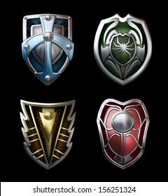 Illustration of four steel shields for the brave knights