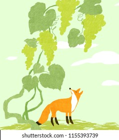 Illustration of fox illustration of fox and vine eating grapes
