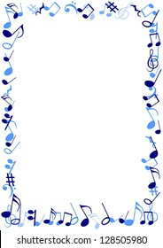 Illustration of a frame made of blue musical notes