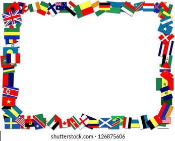 Illustration of a frame made of many flags