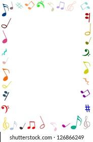 Illustration of a frame made of musical symbols