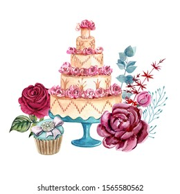 Illustration of french desserts and roses