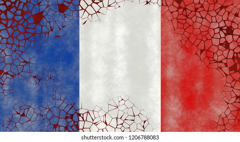 Illustration of a French Flag, imitating of painting on the old wall with cracks