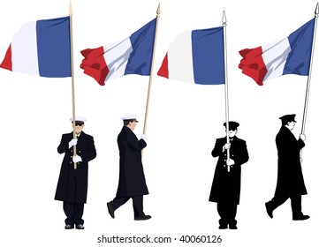 Illustration of french guard of honour with flag at Military parade
