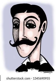 Illustration of french novelist Marcel Proust.