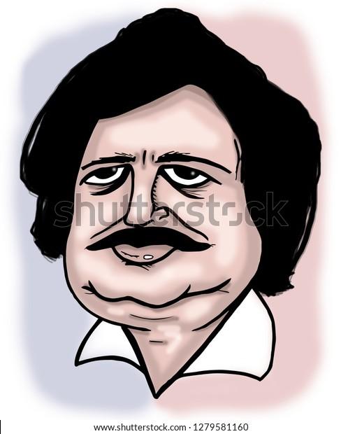 Illustration French Writer De Balzac Stock Illustration